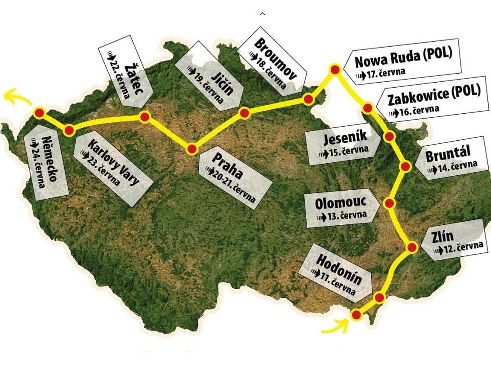 Trasa štafetového běhu Peace run 2016.