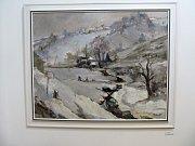 Z vernisáže výstavy obrazů Oldřicha Oplta.