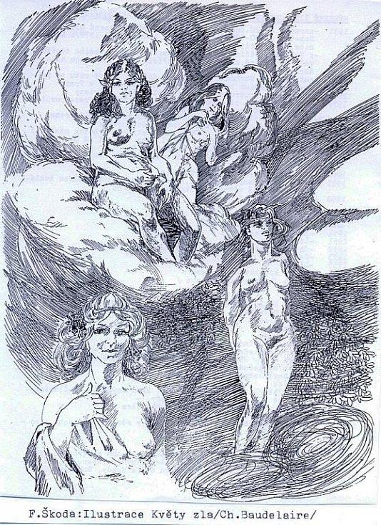 Ilustrace Františka Škody ke sbírce Charlese Baudelaira Květy zla.