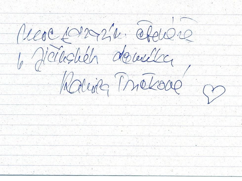 Pozdrav Kamily Moučkové čtenářům Jičínského deníku.
