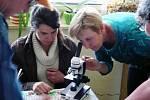 Včelaření se věnují úspěšně i ženy, jako Šárka Lojdová a Iva Šourková, které právě připravují mikroskop ve včelařském kroužku v ZŠ Běchary.