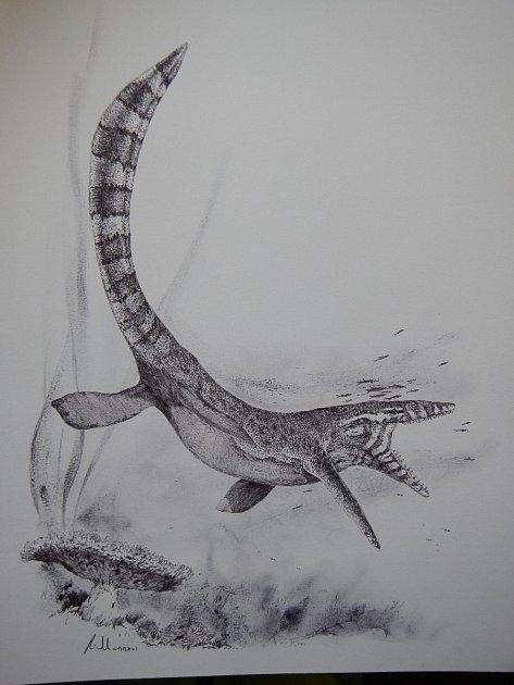 Podoba pravěkého mosasaura. Ilustrace: Vladimír Rimbala