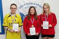 Nejlepší trio dorostenek z mistrovství kraje. Zleva Kumštová, Portyšová a Morávková.