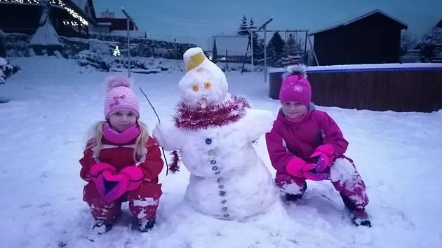 Dcerky paní Martiny Šepsové postavily krásného sněhuláka.