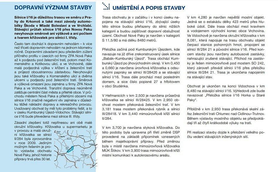 Informace o obchvatu Nové Paky