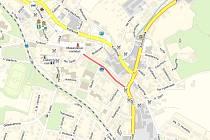 Ulice Komenského v Nové Pace (červeně)
