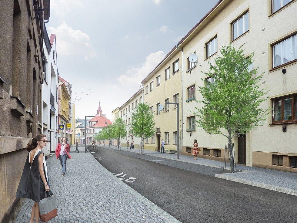 Vizualizace Komenského ulice v Nové Pace.