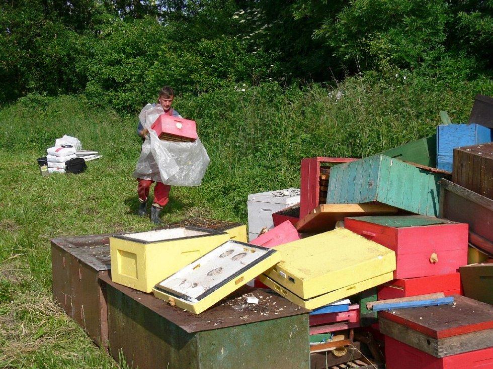 Likvidace včel kvůli výskytu všelího moru v obci Kyje.