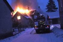Požár domu v Libuni.