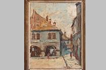 Obraz Františka Maxe: Rohový dům na náměstí.