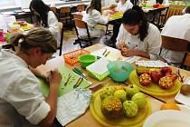 Vyřezávání ovoce v novopacké SŠGS.