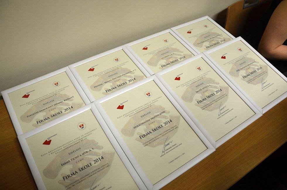 Ze slavnostního ocenění Firma škole 2014.