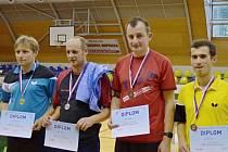 Medailisté dvouhry mužů. Zleva Petr Dlabola, Pavel Kohout, Vojtěch Kazda, Jan Šmidrkal.