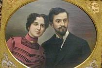 Jan Opolský maloval obraz asi podle svatební fotografie. Byl zajímavým a velkým básníkem, ale fyzicky byl prý subtilní a menší postavy. Jeho žena byla rozhodně vyšší, ale náš básník – malíř si s touto skutečností, jak vidíte, uměl mistrně poradit.