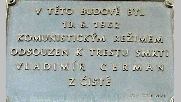Pamětní deska Vladimíru Cermanovi.
