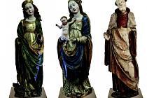 Mistr Oplakávání Krista ze Zvíkova – zleva: sv. Markéta, Madona (obě díla – Muzeum Šumavy v Kašperských Horách), sv. Linhart (Národní galerie v Praze).