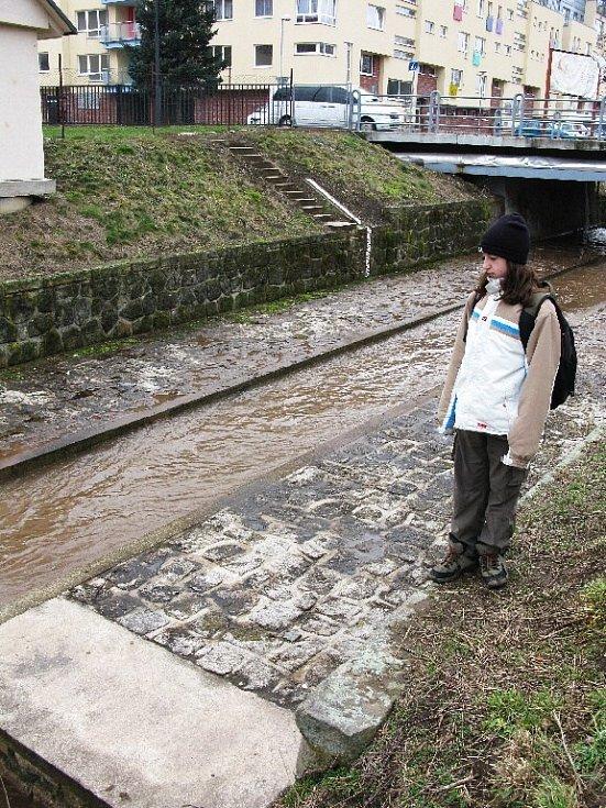 Stav Cidliny v Jičíně v poledne 6. března, povodeň zatím nehrozí.
