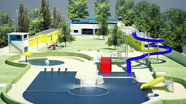Plán jičínského koupaliště, jak bude vypadat v roce 2010.