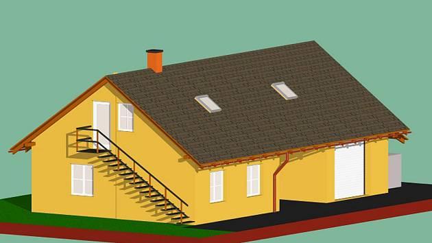 Projekt plánu na přestavbu stavské hasičské zbrojnice.