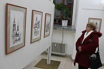 Z vernisáže výstavy díla Zdeňka Šindlara.