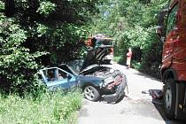 Nehoda automobilu u Šárovcovy Lhoty.