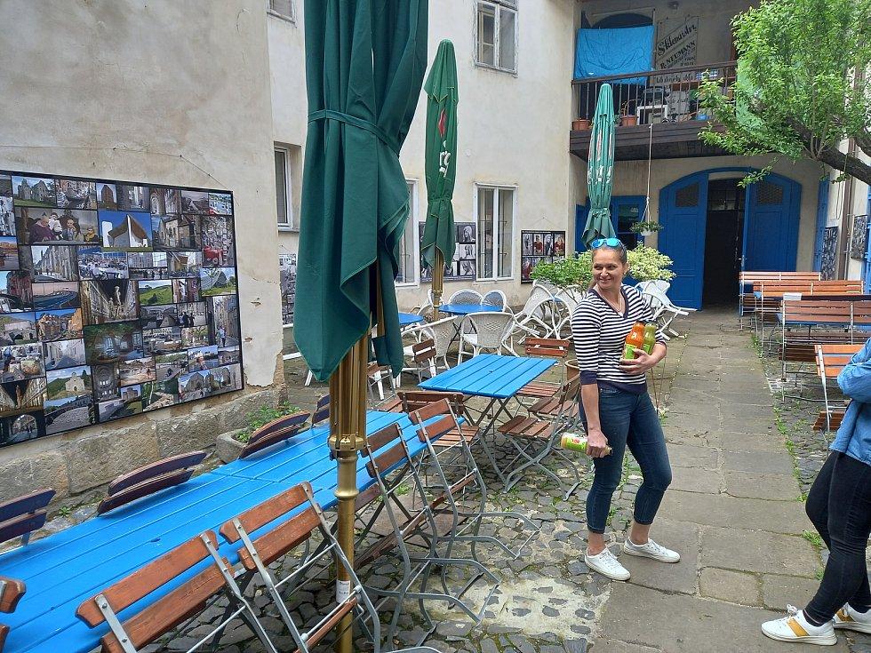 Zahrádka restaurace Divá Bára je umístěna v útulném vnitrobloku. V létě tak zajišťuje příjemný stín nebo útočiště před bouřkou.
