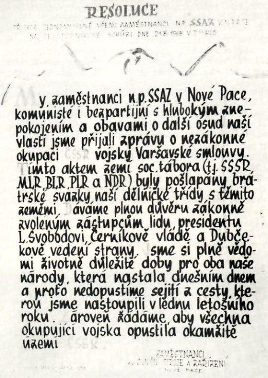 Rezoluce z roku 1968 novopackých zaměstnanců.