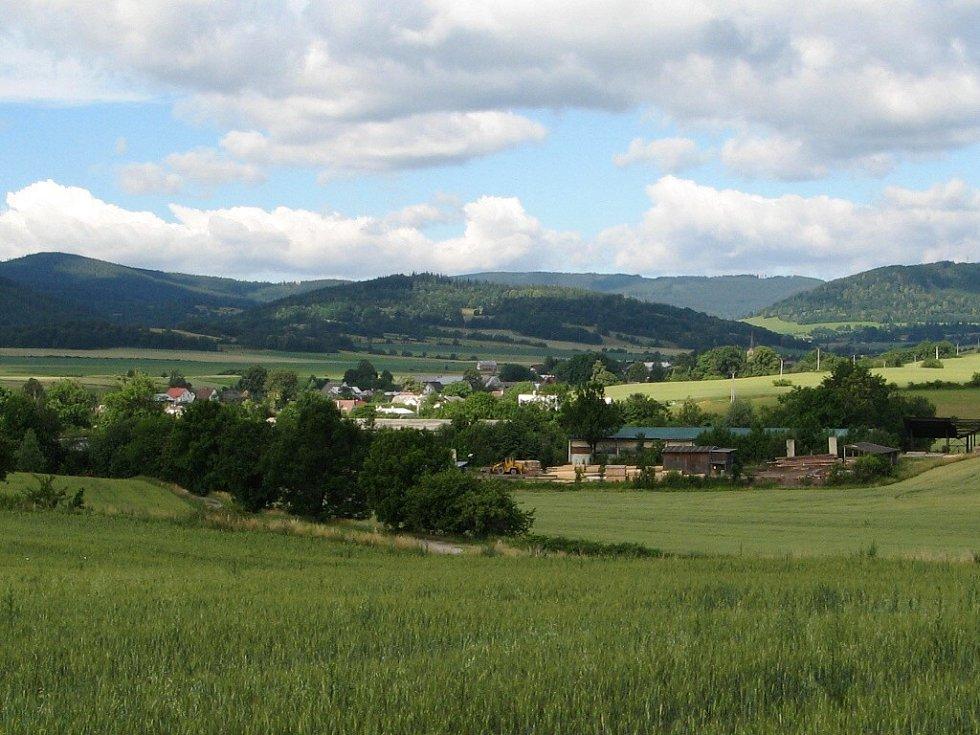 Pohled na vesničku Jindřichov při cestě do obce Osoblaha.