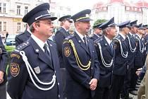Vyznamenávání hasičů u příležitosti státního svátku.