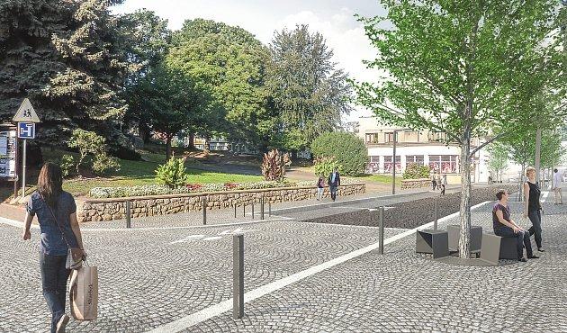Vizualizace Komenského ulice vNové Pace.