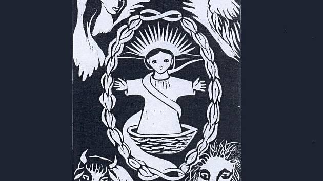Anna Poustová: grafika Kosmické vejce.