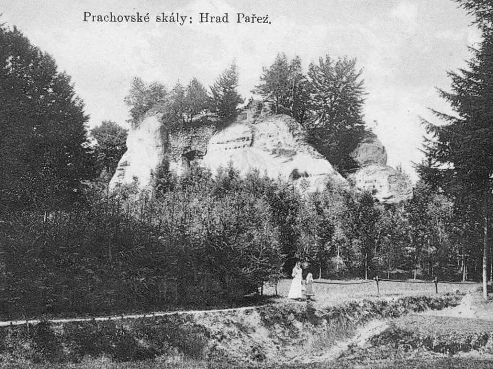Prachovské skály, hrad Pařez, rok 1910.
