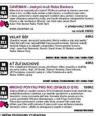 Program kina Boháňka.