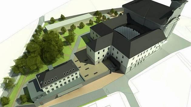 Vizualizace areálu bývalého kláštera v Nové Pace.