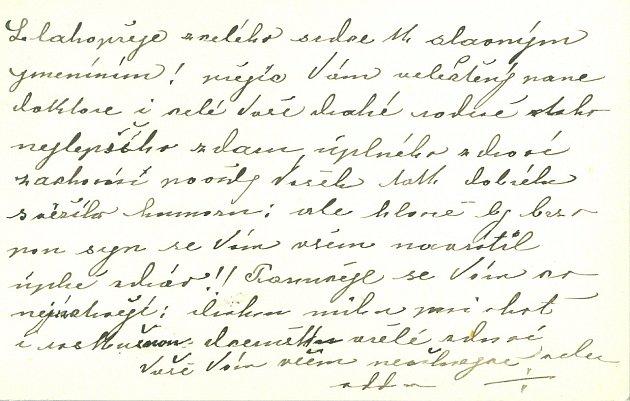 VIZITKA – Rozalie Prokopová, roz. Šlechtična zFreyburgů. Přání ke jmeninám JUDr. Františka Kloučka (1849 – 1939). Jičín, 1915.