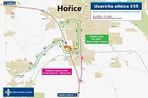 Mapa objízdných tras v Hořicích.