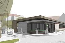 Vizualizace podoby nové vrátnice s lékárnou u jičínské nemocnice. Stavba byla v úterý oficiálně zahájena.