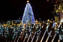 Vánoční osvětlení zahrady a domu Masákových v Nové Pace.