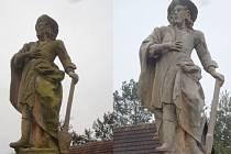 Socha sv. Isidora v Hořicích - Libonicích před a po opravě.