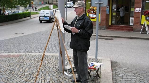 Jeden z malířů zachytil i hospůdku  U Lípy.