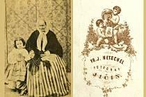 MARIE  PROFTOVÁ na snímku Františka Josefa  Hetschla na obrázku vlevo, vpravo pak zadní strana Hetschelovy fotografické vizitky (Sbírka RMaG v Jičíně).