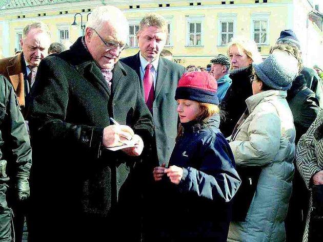 Prrezident Václav Klaus v Jičíně.
