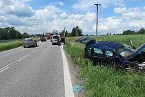 Nehoda roomsteru u Libuně.
