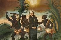 Poslední okamžiky jihlavského jezuity Strobacha v jiném provedení. Vydavatelé nechali vytisknout různá vyobrazení. Zájem byl obrovský zvlášť o barevné, Jihlavané je dokonce sbírali.