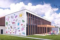 Vizualizace. Takto bude nová internátní školka v Jihlavě Na Dolech vypadat. Velkou stěnu u vstupu do školky budou zdobit postavy, jejichž předlohou budou obrázky od samotných dětí.