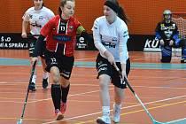 Florbalistky FBŠ Jihlava (v červeném) porazily v sobotu Mladou Boleslav 11:6. O den později si doma poradily také s Libercem, který zdolaly 4:1.