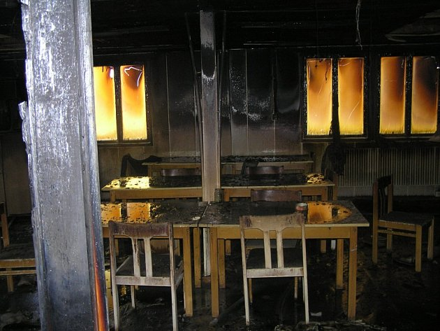 Požár ubytovny ve Štokách.