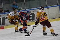 Hokejový zápas mezi Litoměřicemi a Jihlavou.