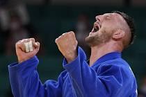 Dvojnásobný olympijský vítěz Lukáš Krpálek po skončení finálového duelu.