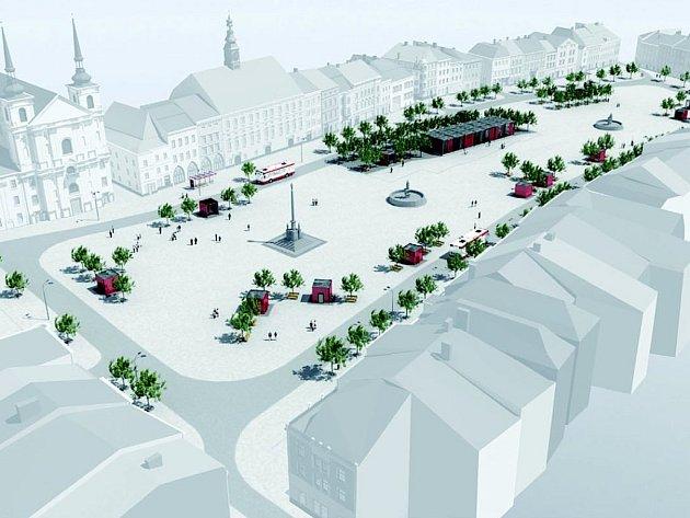 Architekt David Beke navrhl na Masarykově náměstí celou řadu změn. Výhledově by nepouštěl do centra ani trolejbusy, až přijde doba elektromobilů. V centru náměstí není Prior, ale kavárna.